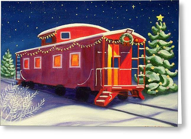 Caboose Paintings Greeting Cards - Christmas caboose Greeting Card by Ruth Soller