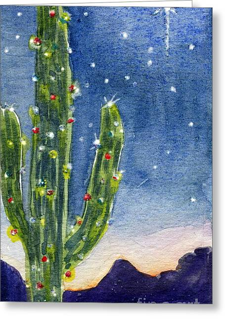 Star Of Bethlehem Paintings Greeting Cards - Christmas Cactus Greeting Card by Marilyn Smith