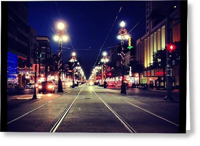Canal Street Line Greeting Cards - Christmas Canal Greeting Card by Rachel June