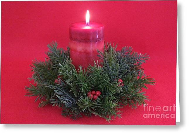 Mary Deal Greeting Cards - Christmas Candle - 1 Greeting Card by Mary Deal