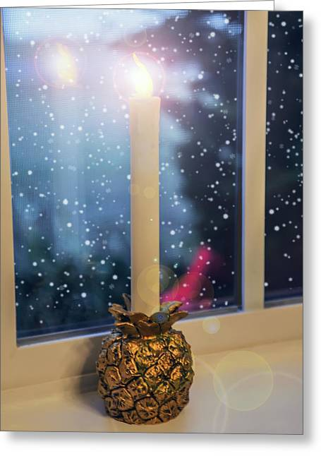 Candle Stand Greeting Cards - Christmas Candle Greeting Card by Brian Wallace