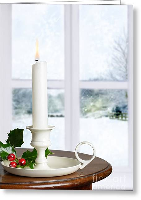 Interior Scene Photographs Greeting Cards - Christmas Candle Greeting Card by Amanda And Christopher Elwell
