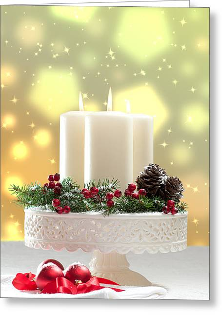 Baubles Greeting Cards - Christmas Candle Decoration Greeting Card by Amanda And Christopher Elwell