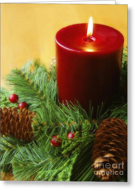 Holiday Greeting Greeting Cards - Christmas Candle Greeting Card by Diane Diederich