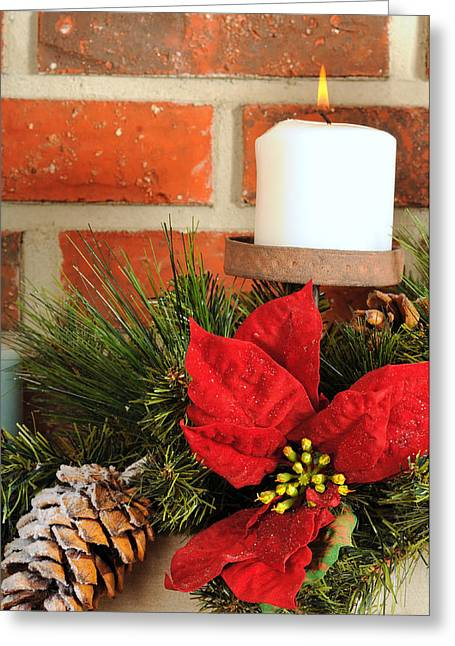 Candle Stand Greeting Cards - Christmas candle Greeting Card by Kenneth Sponsler