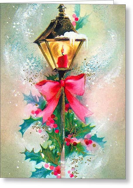 Christmas Candle Greeting Card by Munir Alawi