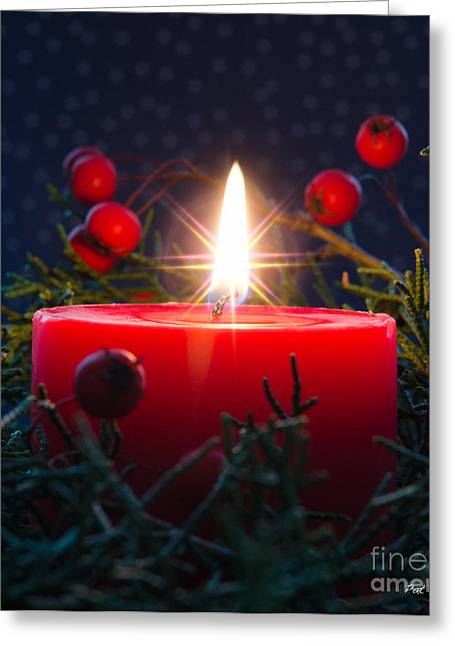Candle Lit Greeting Cards - Christmas candle Greeting Card by Pat Lucas