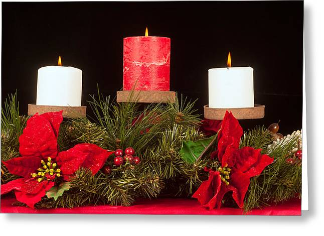 Candle Stand Greeting Cards - Christmas candle trio Greeting Card by Kenneth Sponsler