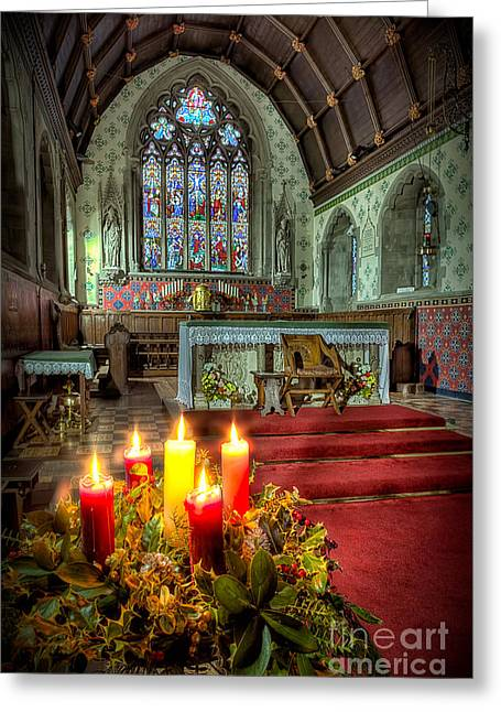 Religious Digital Art Greeting Cards - Christmas Candles Greeting Card by Adrian Evans