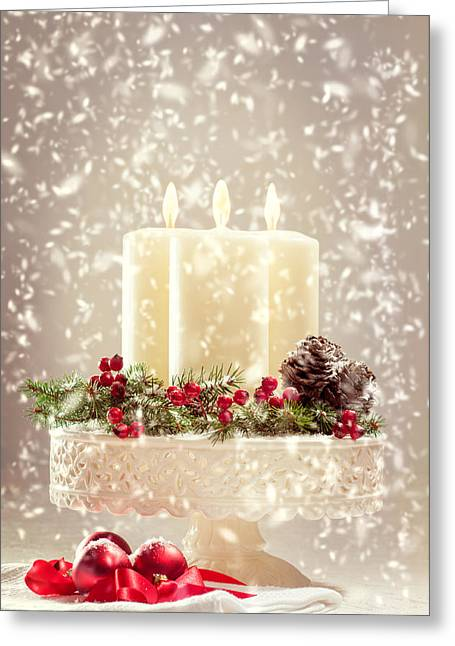 Baubles Greeting Cards - Christmas Candles Greeting Card by Amanda And Christopher Elwell