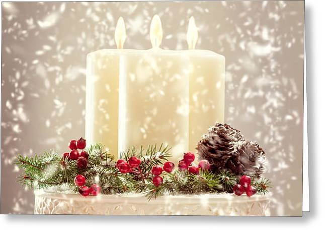 Christmas Candles Greeting Card by Amanda And Christopher Elwell