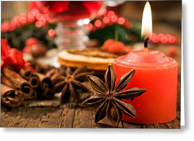 Dore Digital Greeting Cards - Christmas Candles Greeting Card by Vintage