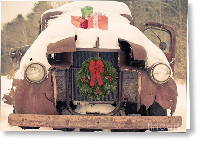 Classic Pickup Truck Greeting Cards - Christmas Car Card Greeting Card by Edward Fielding