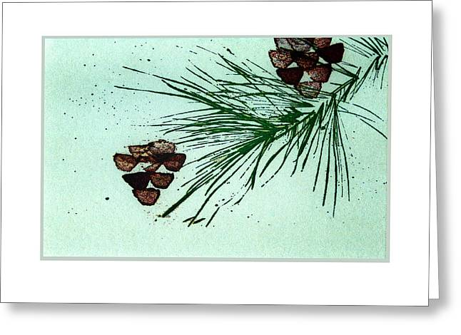 Pine Cones Mixed Media Greeting Cards - Christmas Card 3 Greeting Card by Ann Powell