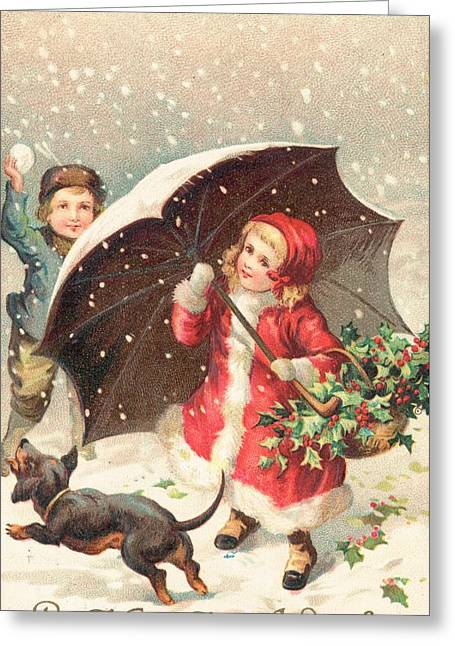 Christmas Card Greeting Card by British School