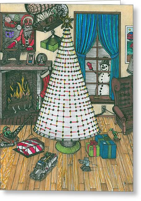 Christmas Card Drawing Greeting Card by Richie Montgomery