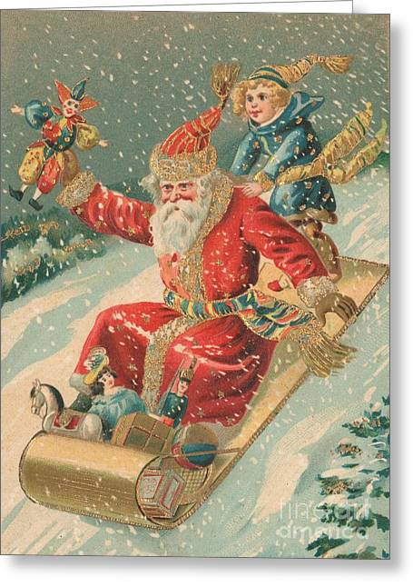 Sledge Greeting Cards - Christmas card Greeting Card by Dutch School
