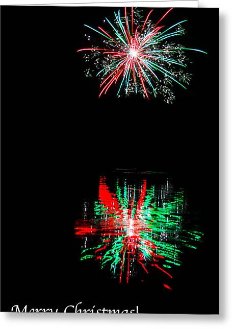 Christmas Greeting Greeting Cards - Christmas Card Fireworks Greeting Card by Parker Cunningham