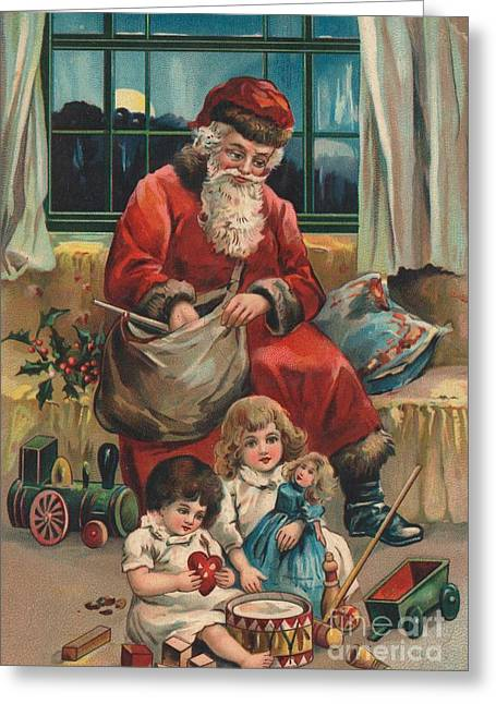 Cards Vintage Paintings Greeting Cards - Christmas card Greeting Card by French School