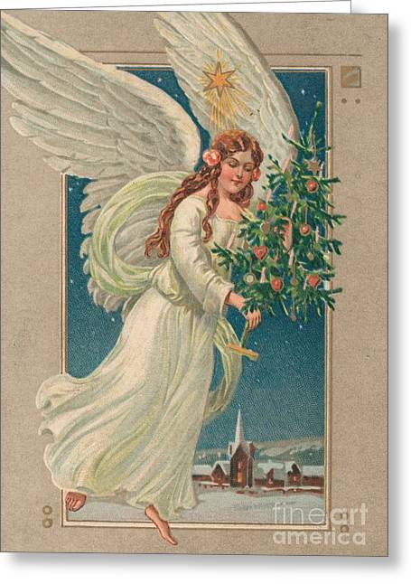 White Robe Greeting Cards - Christmas card Greeting Card by German School