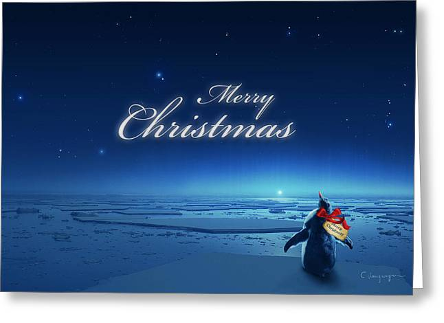 Christmas Card Greeting Cards - Christmas Card - Penguin blue Greeting Card by Cassiopeia Art
