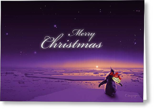 Christmas Card Greeting Cards - Christmas Card - Penguin purple Greeting Card by Cassiopeia Art