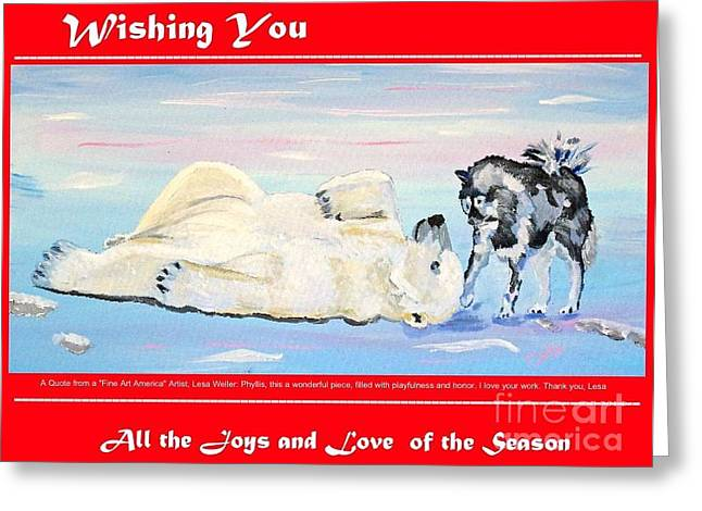 Christmas Greeting Greeting Cards - Christmas Card Polar Bear and his Friend The Husky Dog Greeting Card by Phyllis Kaltenbach
