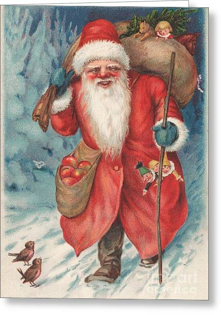 Cards Vintage Paintings Greeting Cards - Christmas card  Greeting Card by Russian School