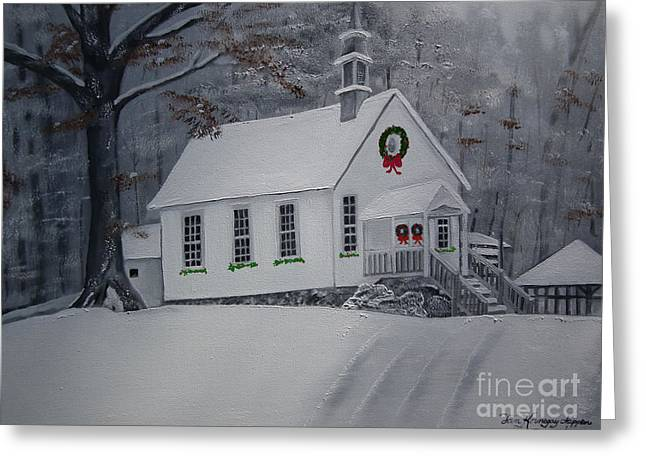 Christmas Eve Greeting Cards - Christmas Card - Snow - Gates Chapel Greeting Card by Jan Dappen
