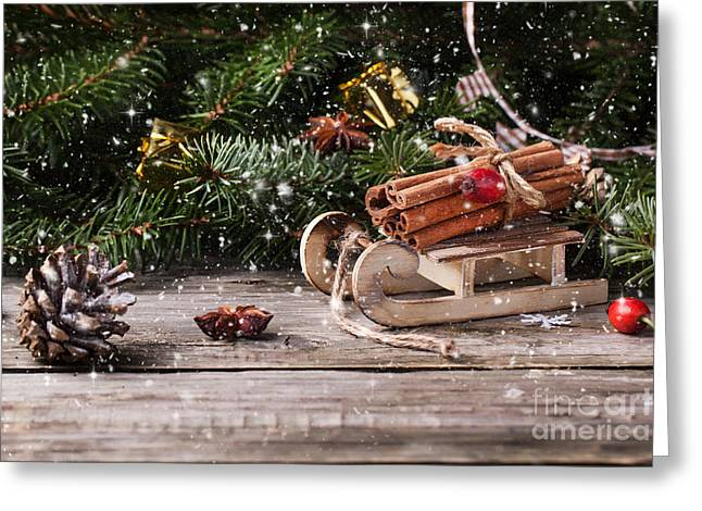 Toy Pyrography Greeting Cards - Christmas card with sled and cinnamon Greeting Card by Natasha Breen