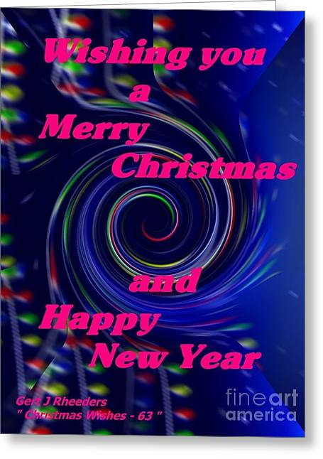 Cellphone Greeting Cards - Christmas Cards And Artwork Christmas Wishes 63 Greeting Card by Gert J Rheeders