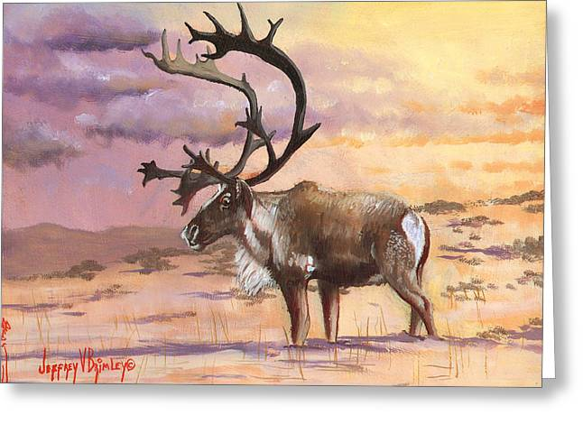 Caribou Greeting Cards - Christmas Caribou Greeting Card by Jeff Brimley
