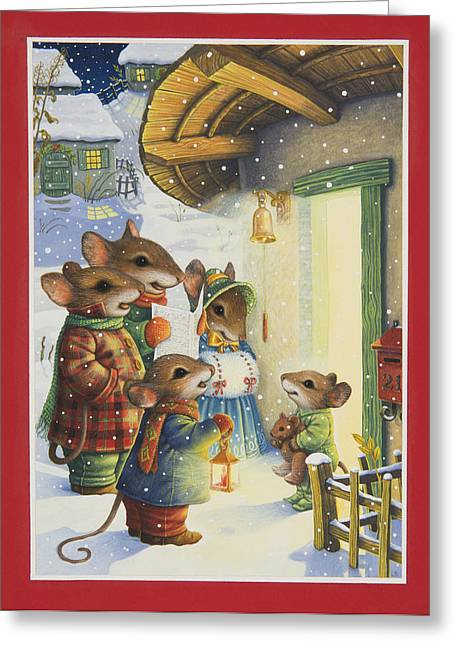 Footie Greeting Cards - Christmas Carols Greeting Card by Lynn Bywaters