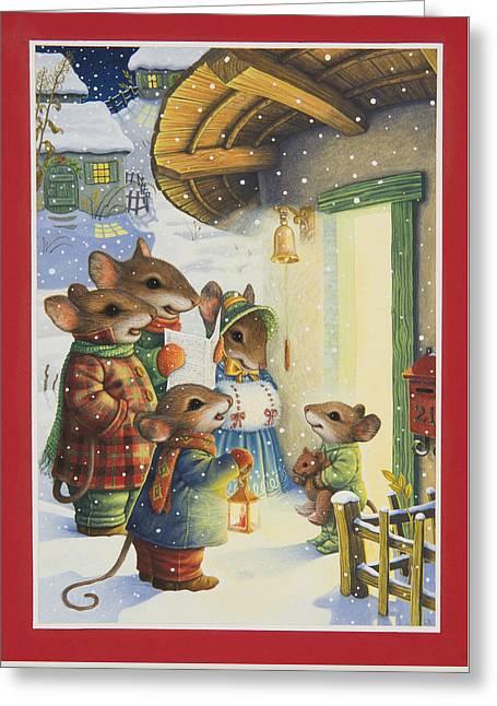Christmas Carols Greeting Card by Lynn Bywaters