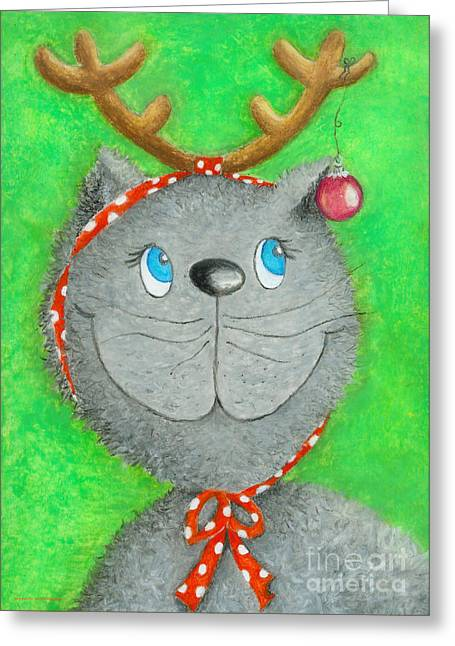 Crafts For Kids Greeting Cards - Christmas Cat Greeting Card by Sonja Mengkowski