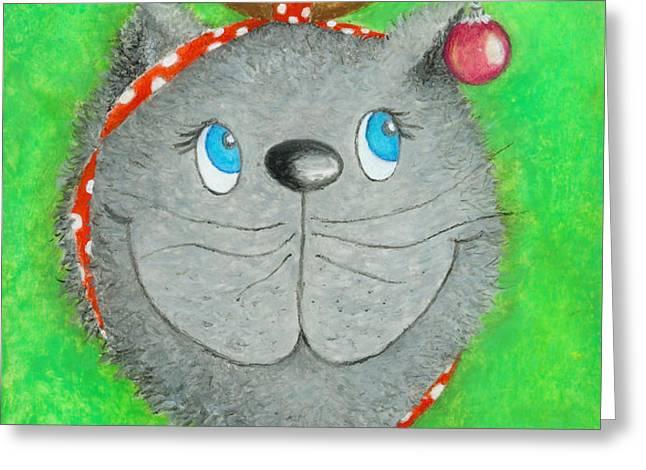 Christmas Cat Greeting Card by Sonja Mengkowski