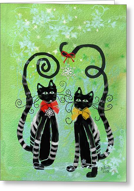 Cat Christmas Cards Greeting Cards - Christmas Cats Greeting Card by Arline Wagner