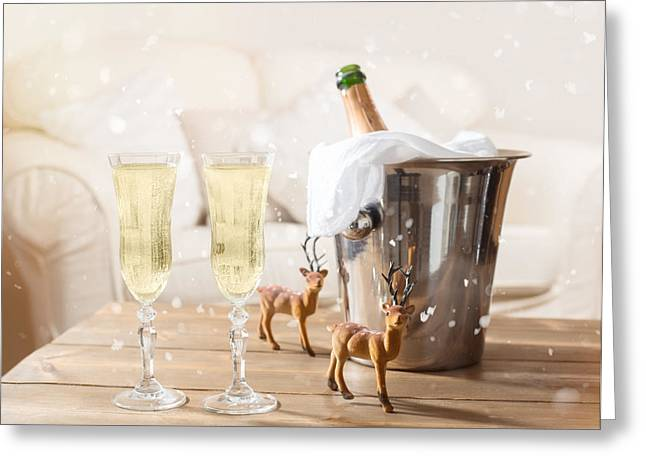Champagne Glasses Greeting Cards - Christmas Champagne Greeting Card by Amanda And Christopher Elwell
