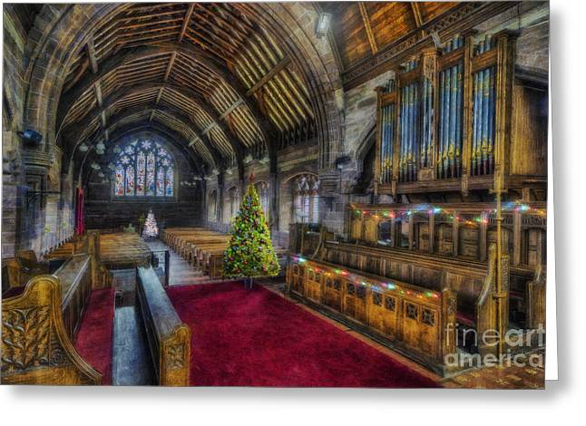 Christmas Church Service Greeting Card by Ian Mitchell