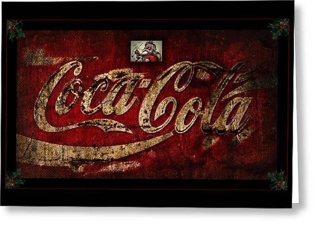 Christmas Coca Cola 1881 Santa Greeting Card by John Stephens