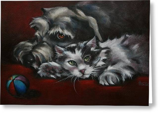 Feline Art Greeting Cards - Christmas Companions Greeting Card by Cynthia House