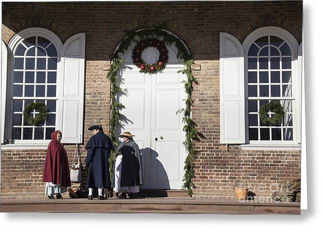 Colonial Actors Greeting Cards - Christmas Conversation at the Courthouse Greeting Card by Teresa Mucha