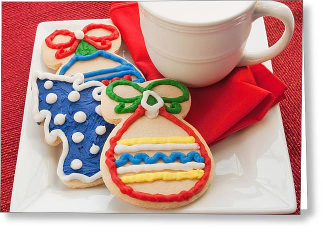 Plate Of Cookies Greeting Cards - Christmas Cookies and Milk Greeting Card by Vizual Studio
