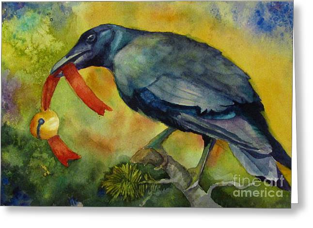 Wa Paintings Greeting Cards - Christmas Corvus Greeting Card by Judi Nyerges
