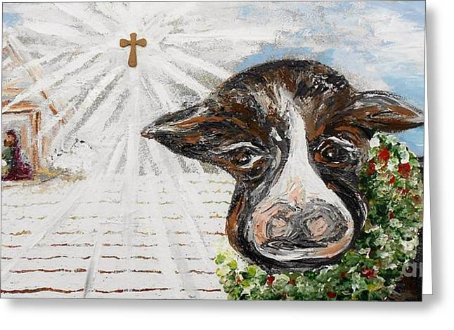 Christ Child Greeting Cards - Christmas Cow - Oh to Have Been There... Greeting Card by Eloise Schneider