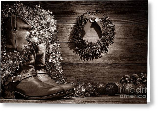 Wood And Leather Greeting Cards - Christmas Cowboy Boots Greeting Card by American West Legend By Olivier Le Queinec