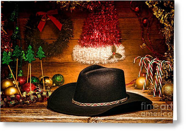 Christmas Greeting Greeting Cards - Christmas Cowboy Hat Greeting Card by Olivier Le Queinec