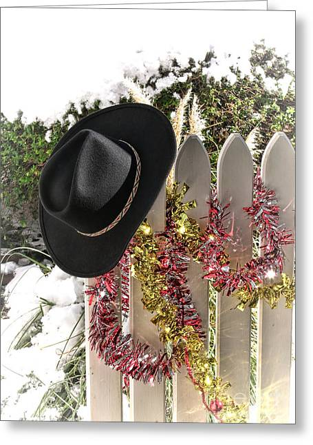 Holiday Greeting Greeting Cards - Christmas Cowboy Hat on a Fence Greeting Card by Olivier Le Queinec