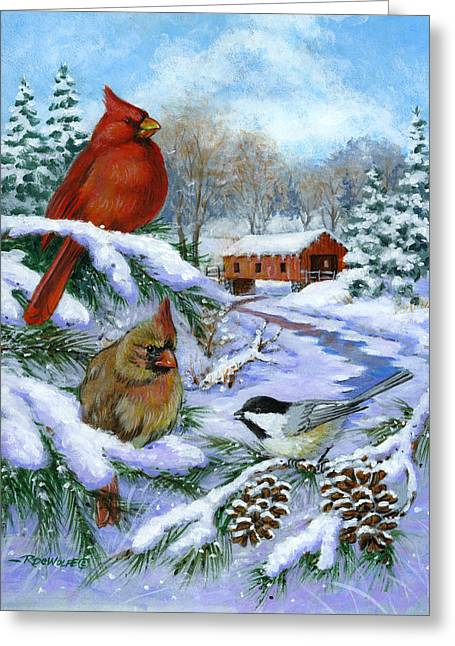 Richard De Wolfe Greeting Cards - Christmas Creek Greeting Card by Richard De Wolfe