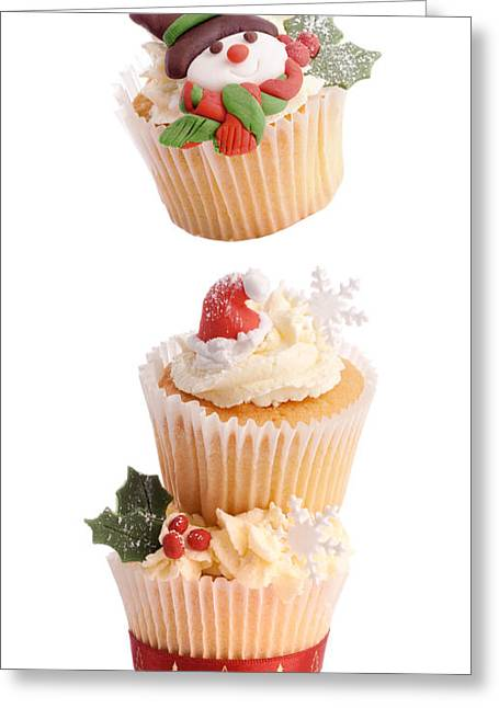 Sponged Greeting Cards - Christmas Cupcake Tower Greeting Card by Amanda And Christopher Elwell